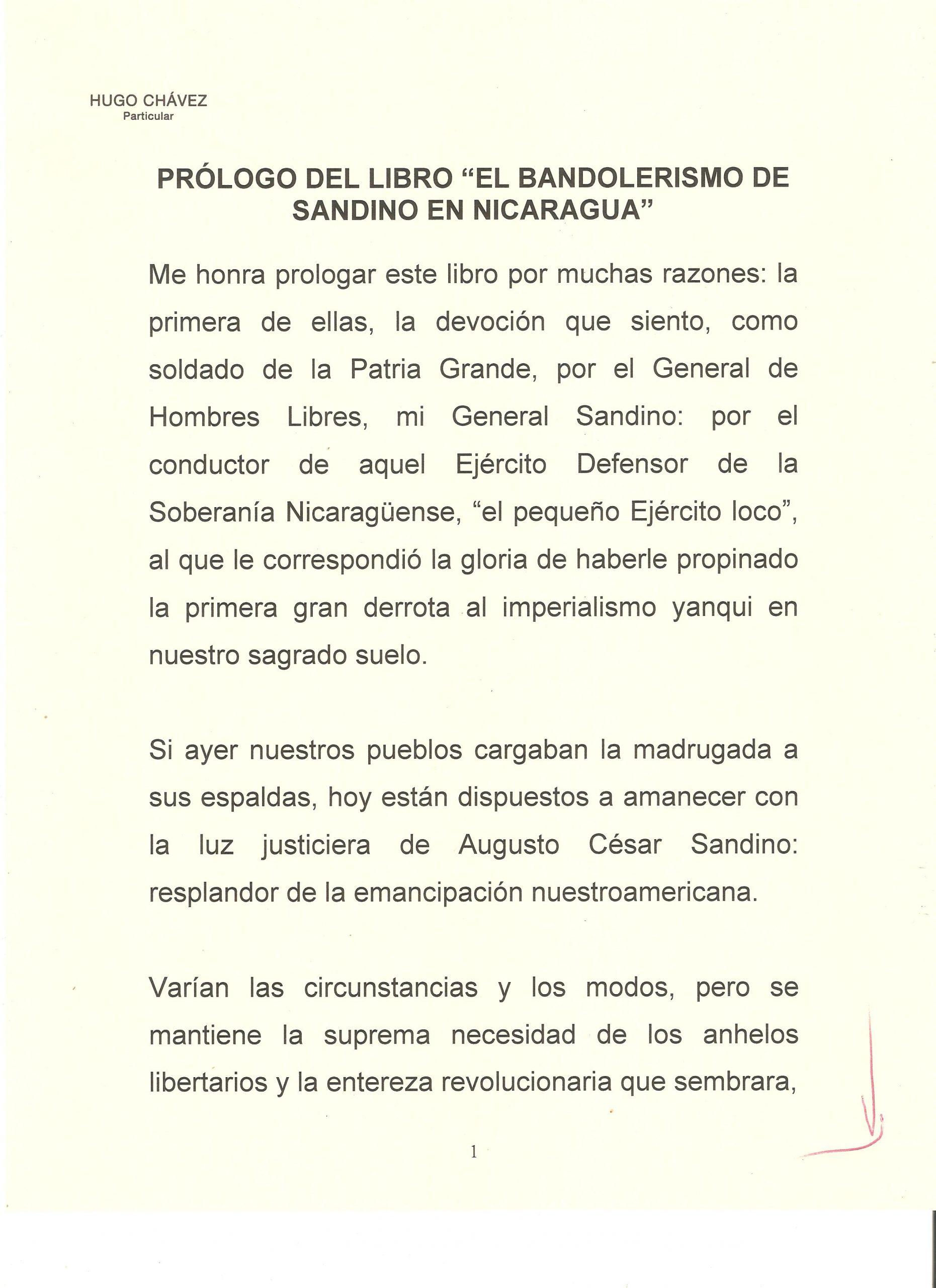 PROLOGO DE HUGO CHAVEZ A WALTER 1