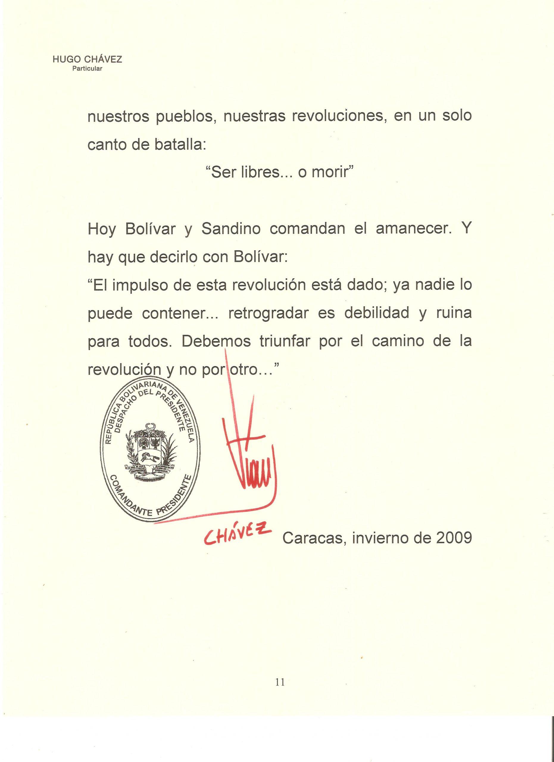 PROLOGO DE HUGO CHAVEZ A WALTER 11